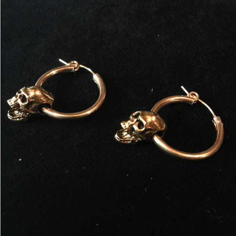 1.5 inches w gold plated screaming skull-skull hoop earrings 14 karat gold filled hoop earrings