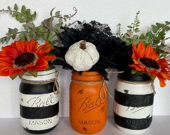 Halloween Fall Mason Jar Centrepiece, Vase Table Decor, Candy Jar, Halloween Party Decor, Utensil Holder, Table Decor