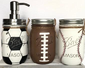 2/3 Mason Jar Sports Set, Sports Jar Pump, Baby Shower Decor, Piggy Bank, Man Cave Home Decor, Kids Room Decor, Game Day Decor, Party Decor