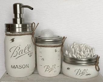 Mason Jar Bathroom Set, Bathroom Decor, Home Decor, Country Decor, Rustic Decor, Farmhouse Decor, Christmas Gift, Vanity Set, Kitchen Decor