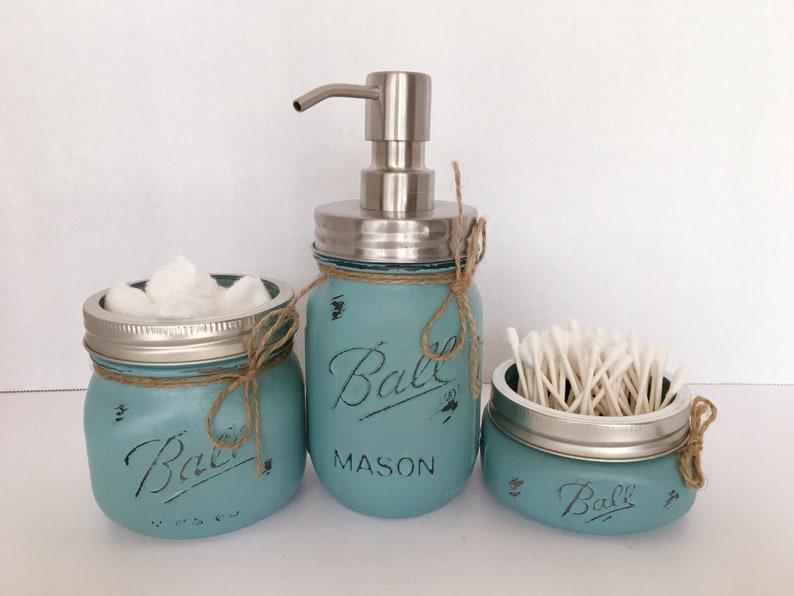 Mason Jar Bathroom Set. Bathroom Decor. Mason Jars. Rustic image 0