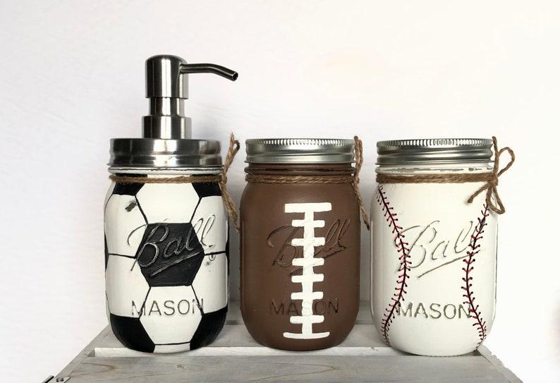 2/3 Mason Jar Sports Set Sports Jar Pump Baby Shower Decor image 1