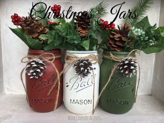 Christmas Mason Jars Mason Jar Christmas Set Christmas Etsy