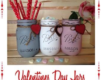 Valentine Jars. Mason Jars. Valentine Decor. Home Decor. Valentine Gift. Mothers Day Gift. Teachers Gift. Birthday.
