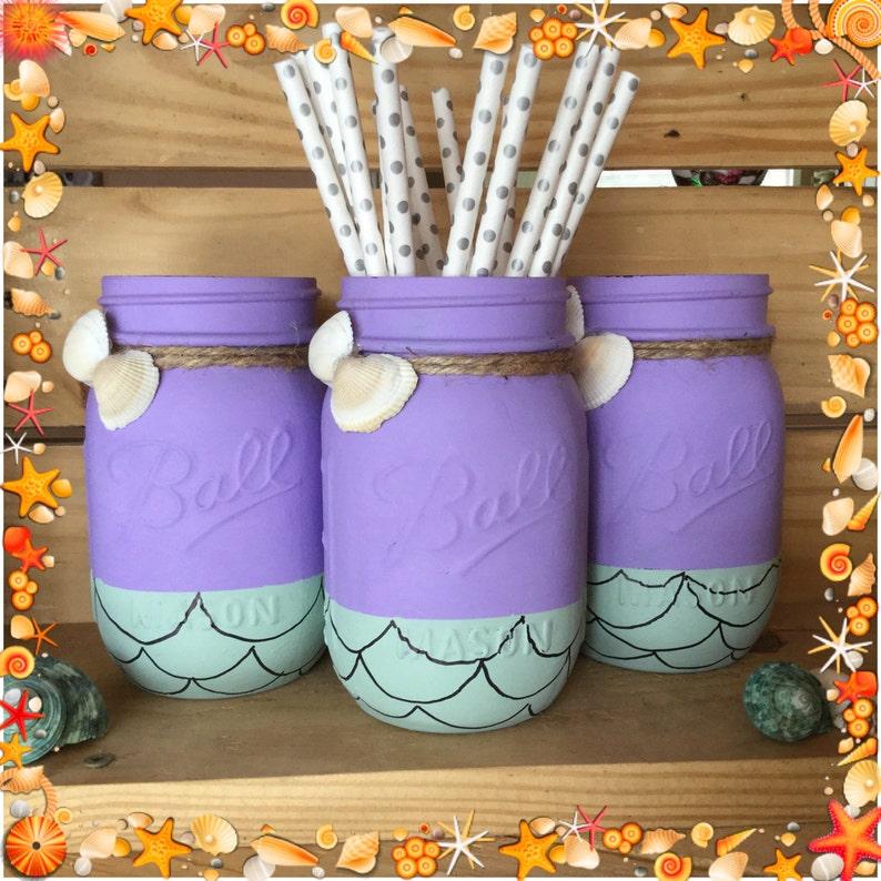 Painted Mason Jars. Party Decor. Beach Decor. Vases. Mermaid. image 0