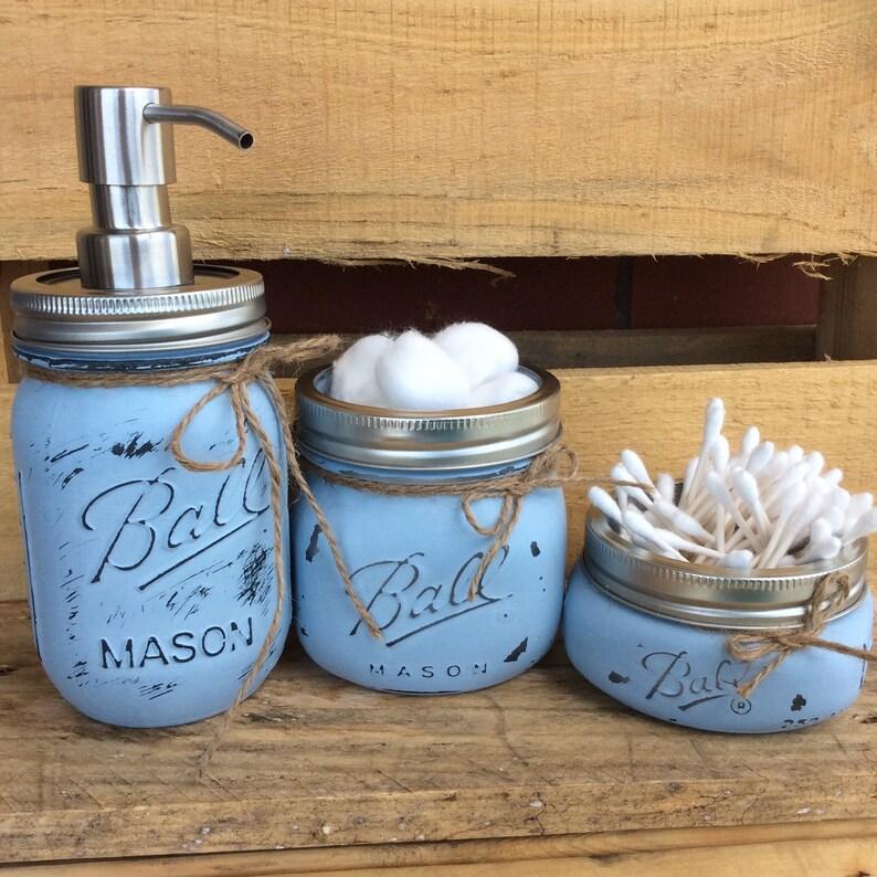 Mason Jar Set. Mason Jar Bathroom Set. Home Decor. Bathroom image 0
