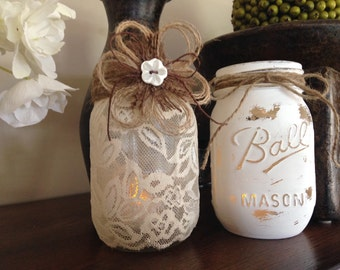 Shabby Chic Mason Jars. Wedding Centerpieces. Lace Candle holder. Distressed white candle holder. Vases. Engagement Party. Home/Patio Decor.