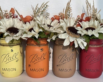 Fall Mason Jar Centrepiece for Home, Wedding, Thanksgiving Table Decor, Painted  Distressed Yellow, Red, Brown, Orange Glass Vases
