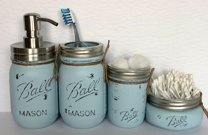 4/5 Mason Jar Bathroom Set Bathroom Decor Home Decor image 1