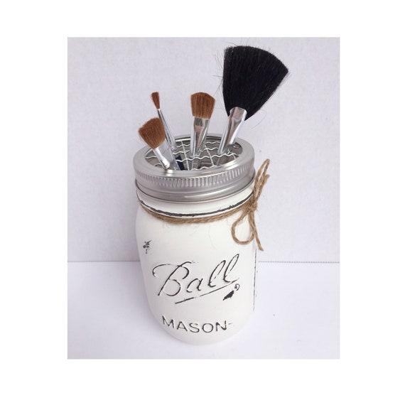 Mason Jar Americana Toothbrush Holder Country Urban Farmhouse Rustic Decor Bathroom Decor Pencil Holder Makeup Brush Holder Flower Frog