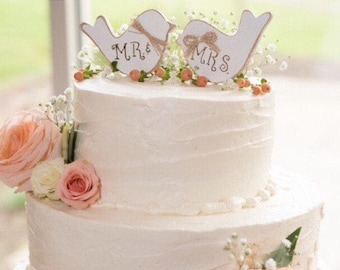 Love Birds Wedding Cake Topper. Rustic Wedding Cake Topper. Cake Topper. Love Birds Cake Topper. Wooden Love Birds. Mr. & Mrs. Cake Topper.