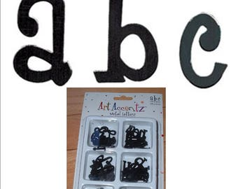 100 Black METAL LETTERS  lowercase Girls are Weird embellish scrapbook pages handmade cards craft projects alphabet embellishment