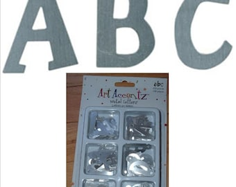 100 Silver METAL LETTERS Pigeon Toed uppercase embellish scrapbook pages handmade cards craft projects alphabet embellishment Art Accentz