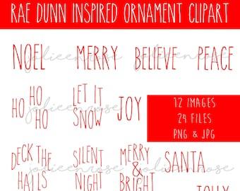 Rae Dunn Inspired Christmas Ornament, Wood Slice Ornament Bundle, Ornament Clipart Bundle, Christmas png, Christmas clipart