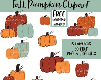 Fall Pumpkin Clipart, Pumpkin png, Pumpkin digital art, Pumpkin Clipart Bundle, Halloween Fall Art