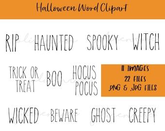 Rae Dunn Halloween Clipart, Halloween png, Rae Dunn Word art, Halloween Clipart Bundle, Halloween svg