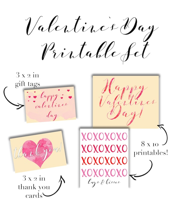 Valentines Day Printable Set Valentines Day Gift Tags Etsy
