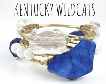University of Kentucky Wildcats Game Day Wire Wrapped Bangles Set - Wire Jewelry - Gift For Her - Gift Under 50 - Courtney And Courtnie