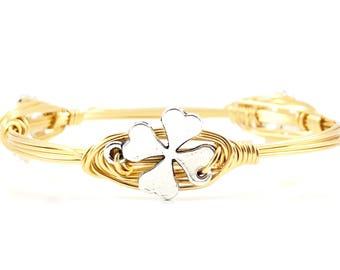 Lucky Charm Wire Wrapped Bangles - Wire Jewelry - St. Patty's Day - Shamrock Bracelet - Four Leaf Clover - Good Luck - Courtney And Courtnie
