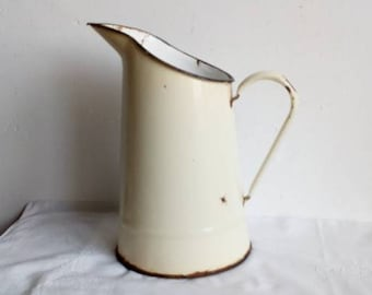 Cream Enamel Small Pitcher, French Vintage Enamelware Jug, Watering Can, Vase