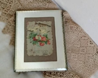 Vintage Mirror Glass Frame, Small Photo Frame, French Bevelled Glass