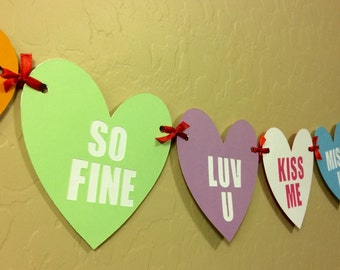 Candy Heart Banner, Valentine Hearts Banner
