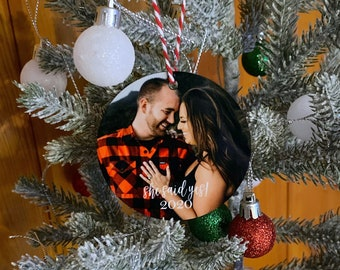 Engagement Ornament- She said Yes Ornament - Our First Christmas - Engaged Christmas