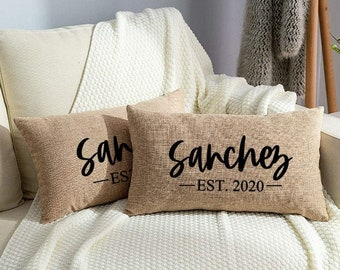 Personalized Pillow, Established Pillow, Welcome Pillow, New Home Gift, Newlywed Gift, 12x20 Pillow