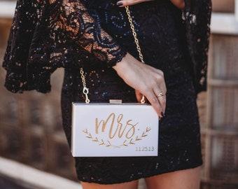 Mrs Purse, Bride Bag, Personalized Purse, Personalized Acrylic Clutch, Acrylic Purse, Acrylic Handbag