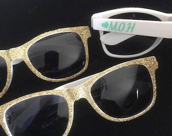 73adb4c8e7 Glitter Sunglasses - Bridal Party Sunglasses - Party Sunglasses -  Bachelorette Sunglasses - Wedding Sunglasses - Custom Sunglasses