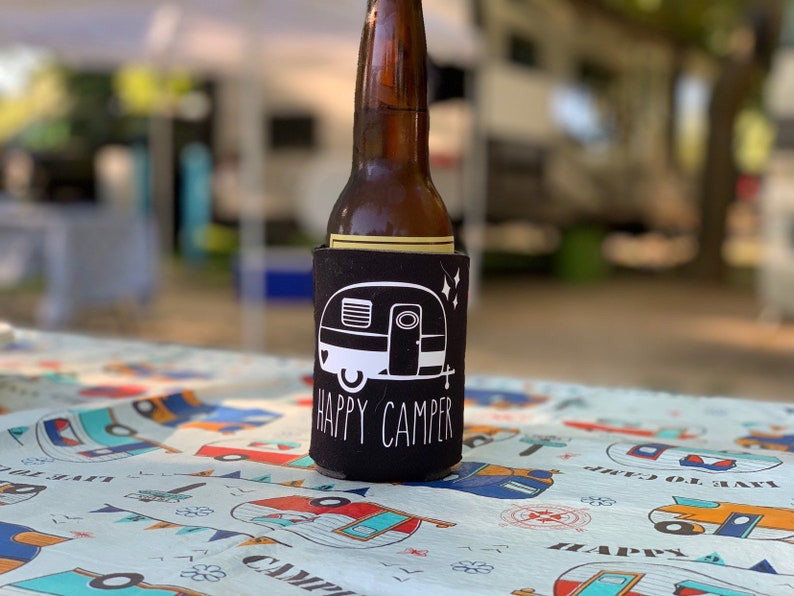Happy Camper  Camping Trailer Can Cooler image 0