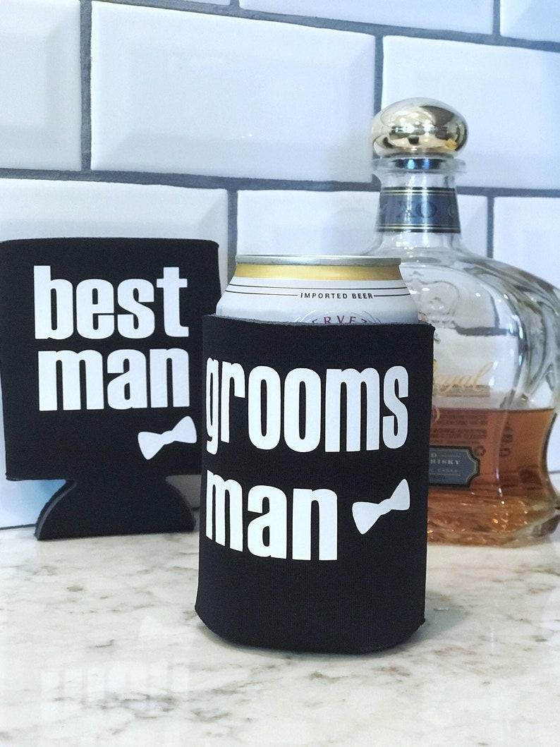 Can Cooler Double Sided for Groomsman Bestman  Bridal Party image 0