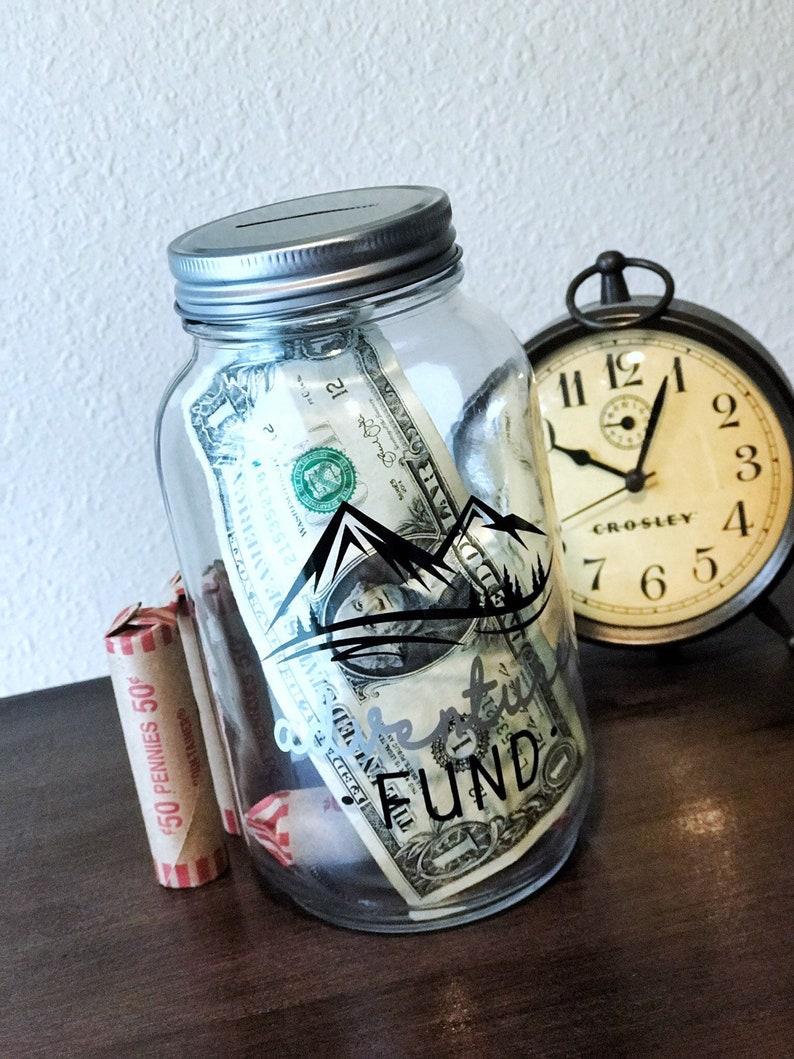 Adventure Fund Piggy Bank  Adult Mason Jar Bank image 0