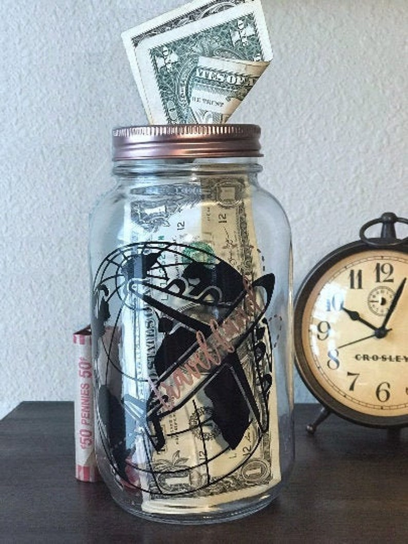 Travel Fund Piggy Bank  Adult Mason Jar Bank image 0