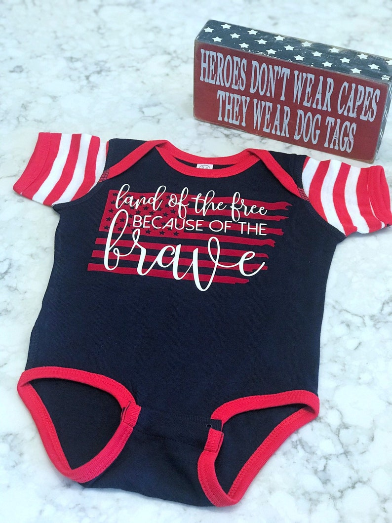 Land of the Free because of the Brave  Bodysuit  Memorial image 0