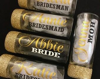 Bridesmaid Shot Glasses - Personalized Shot Glasses - Bridal Party Shot Glasses - Wedding Shot Glasses - Glitter Shot Glasses