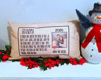 Grandma Gift - Personalized Gift for Grandparents - Hug me Pillow - Post Card Pillow - 12x20 Pillow - Free Shipping
