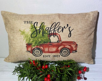 Personalized Christmas Pillow, 12x20 Pillow, Personalized Holiday Pillow, Holiday Pillow 12x20