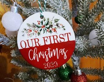 Our First Christmas - Engaged Christmas - Married Christmas - Couple Christmas Ornament