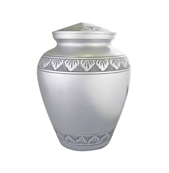 Large Aluminium Black /& Silver Urn for Adult or Pet Dog Ashes Cremains Memorial