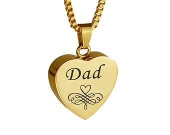 Dad Patterned Gold Heart Urn Pendant - Memorial Ash Keepsake Jewellery - Personalised Engraved