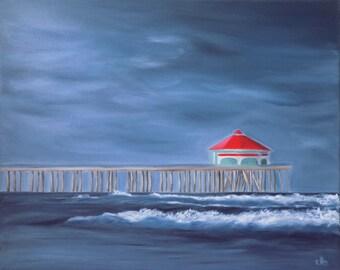 Huntington Beach Painting, 20 x 16, Oil Painting, Original Art, Pier Painting, Ocean Art, Wave Art, Storm Painting, Cloud Painting, Surf Art