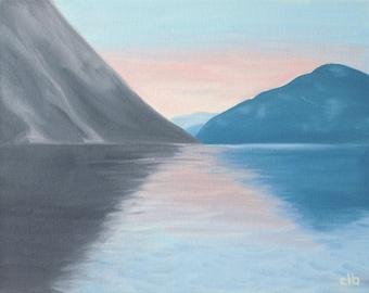 Fjord Painting, 14 x 11, Oil Painting, Original Art, Norwegian Fjord Painting, Norway Landscape Painting, Sunset Painting, Pastel Art