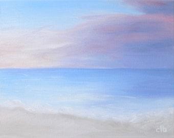 Beach Painting, 14 x 11, Oil Painting, Original Art, Ocean Art, Sunset Painting, Pastel Painting, Cloud Painting, Landscape Painting