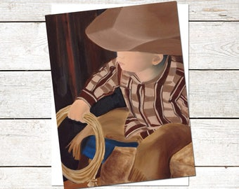 Cowboy Note Cards, 4.5 x 6, Original Art, Oil Painting, Western Painting, Western Cards, Country Art, Children's Art, Boy Painting, Boy Card