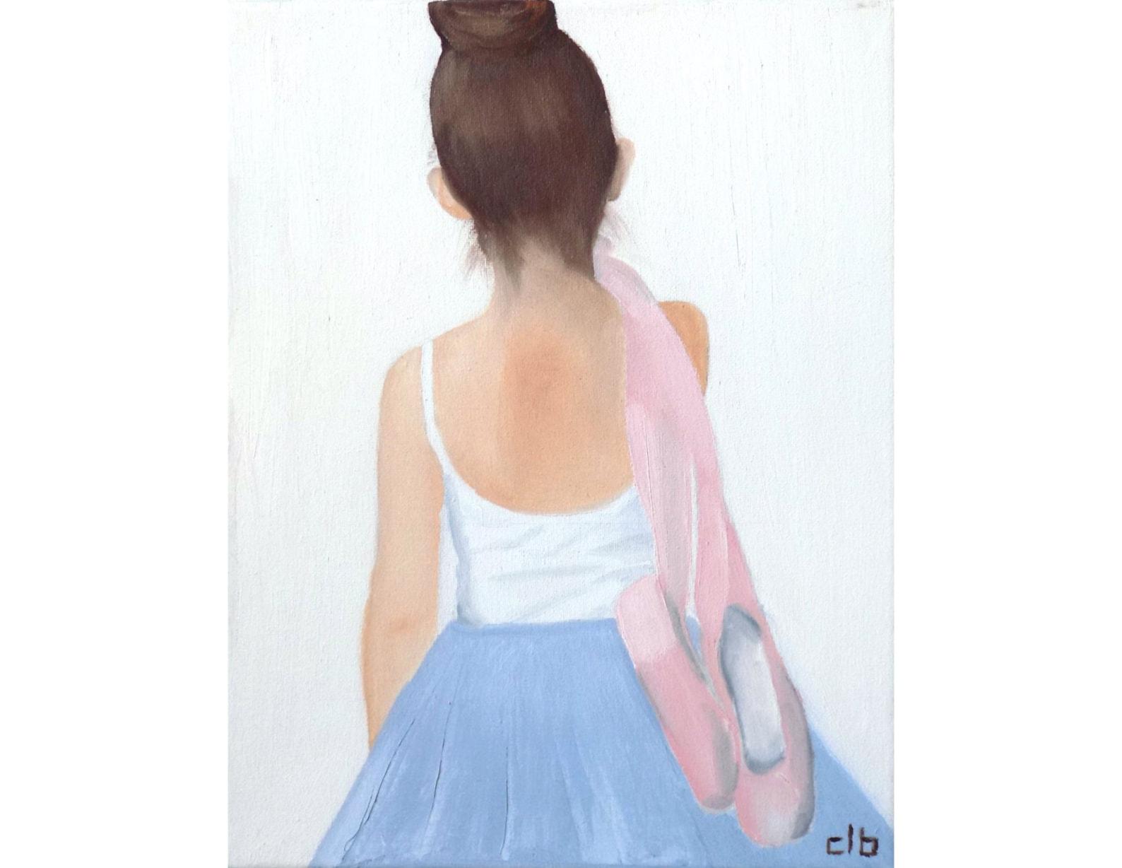 ballerina painting, 11 x 14, oil painting, original art, dance painting, ballet painting, ballet shoes painting, children's