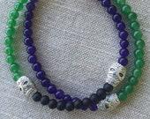 Halloween bracelet of Black Agate, green Aventurine, Purple Amethyst Gemstones, Tibet Silver skulls