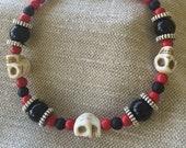 Halloween bracelet Black and red Agate, Onyx Gemstones and white Howlite skulls