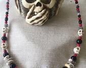 Halloween Dia De Los Muertos Skull Spooky Gemstone Necklace