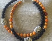 Halloween bracelet of Orange and Black Agate Gemstones, Tibet Silver skulls